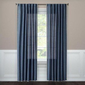 Threshold Blue Stitched Filtering Curtain Panel